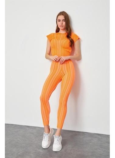 Setre Bej Triko Bluz Pantolon Takım Oranj